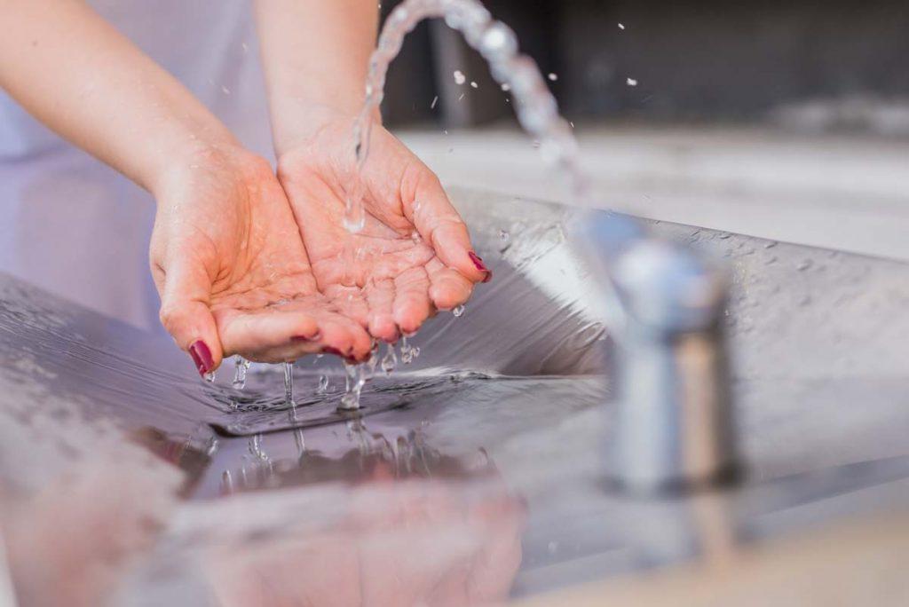 flowing water in faucet